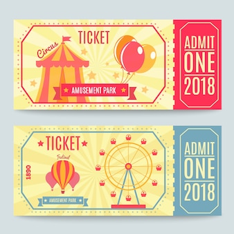 Conjunto de bilhetes de parque de diversões