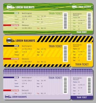 Conjunto de bilhetes de viagens vintage de trem