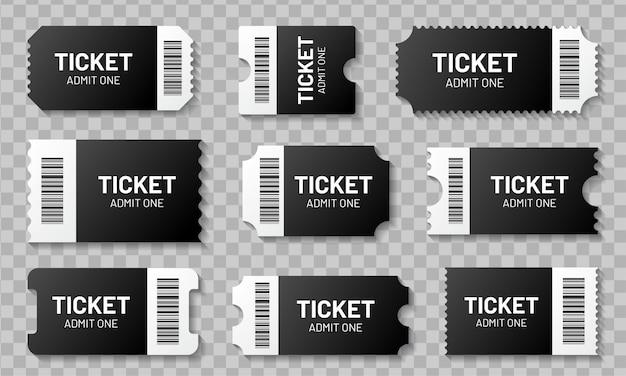 Conjunto de bilhetes em branco com código de barras. modelo de bilhetes para concertos, filmes, teatro e embarque, cupons de loteria e descontos com bordas com babados