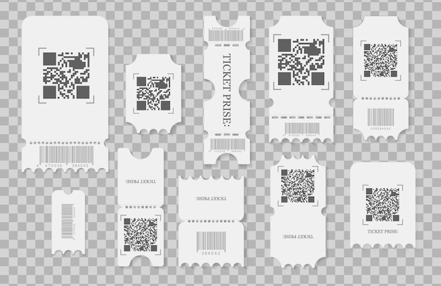 Conjunto de bilhetes em branco, cupons e comprovantes com bordas de plissado. os ingressos para o festival, o layout do cartão de cupons em papel branco e o cinema admitem uma folha.