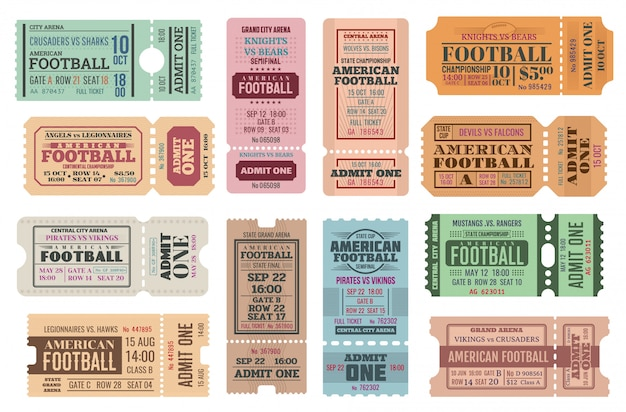 Conjunto de bilhetes isolados de futebol americano
