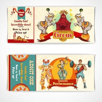 Conjunto de bilhetes vintage circus