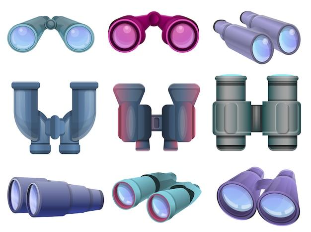 Conjunto de binóculos. conjunto de desenhos animados de binóculos