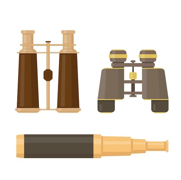 Conjunto de binóculos e telescópio isolado no branco