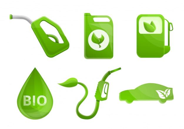 Conjunto de biocombustível, estilo cartoon