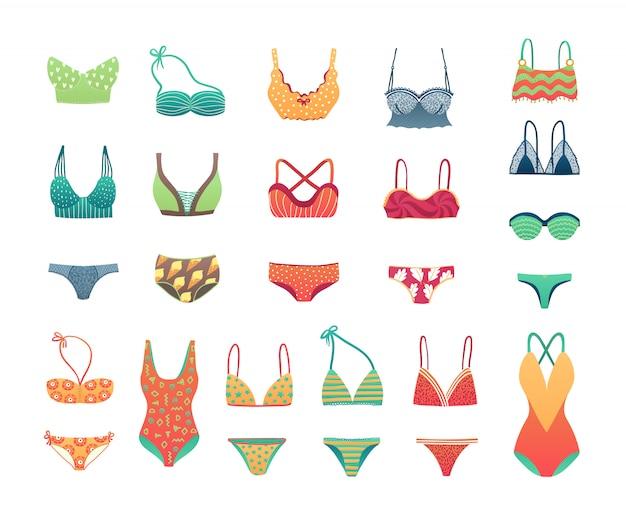 Conjunto de biquíni e roupa de banho da praia do verão, ilustração da roupa interior das meninas e da mulher roupa interior.