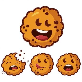 Conjunto de biscoitos bonito dos desenhos animados com emoções diferentes.