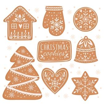 Conjunto de biscoitos caseiros de gengibre, ilustração de desenhos animados de elementos de natal