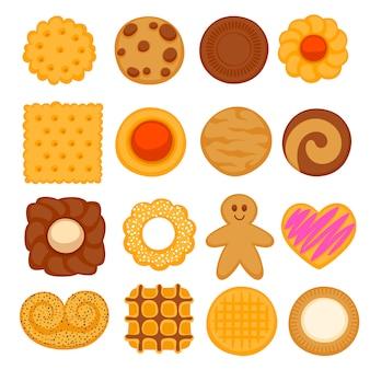 Conjunto de biscoitos coloridos sortidos.