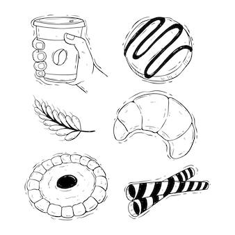 Conjunto de biscoitos com ilustração de xícara de café