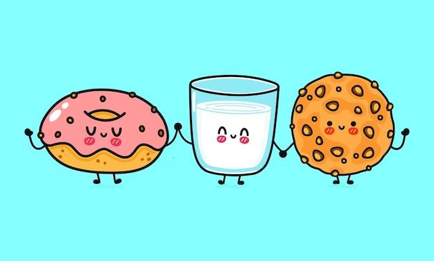 Conjunto de biscoitos de aveia felizes fofos engraçados, copo de leite e donut com personagens