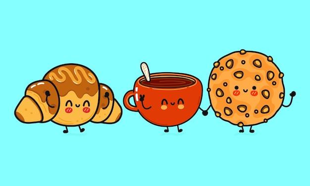 Conjunto de biscoitos de aveia felizes fofos engraçados, xícara de café e croissant de chocolate com personagens
