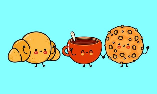 Conjunto de biscoitos de aveia felizes fofos engraçados, xícara de café e croissant de personagens