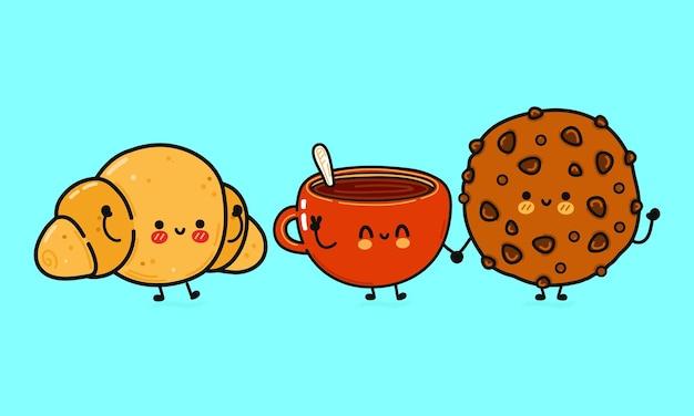 Conjunto de biscoitos de chocolate felizes fofos engraçados, copo de leite e croissant