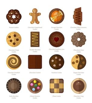 Conjunto de biscoitos de chocolate.
