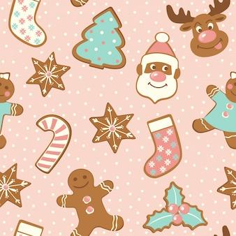 Conjunto de biscoitos de gengibre bonitinho para o natal.