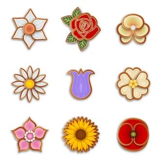 Conjunto de biscoitos de gengibre com flores isoladas
