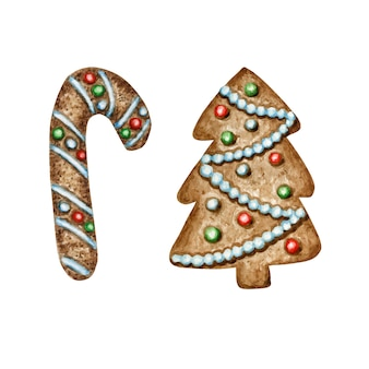 Conjunto de biscoitos de gengibre de árvore de natal, alimentos doces de férias de inverno. ilustração em aquarela. presente de natal e decorações para árvores.