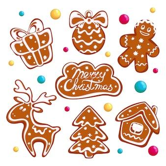 Conjunto de biscoitos de gengibre de natal, biscoitos de gengibre e doces redondos.