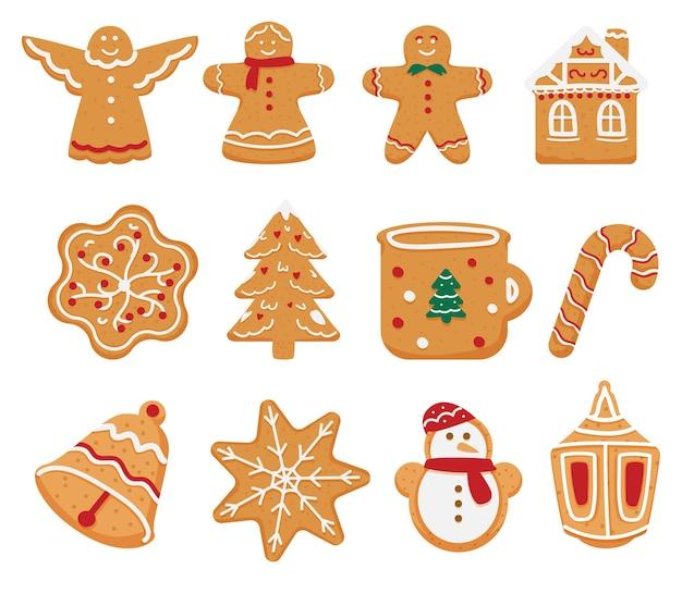 Conjunto de biscoitos de gengibre de natal em diferentes formas.