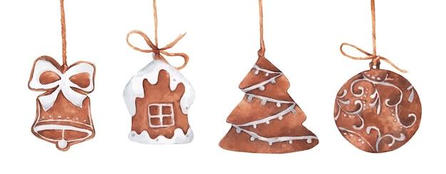 Conjunto de biscoitos de gengibre de natal pendurado na corda. ilustração em aquarela.