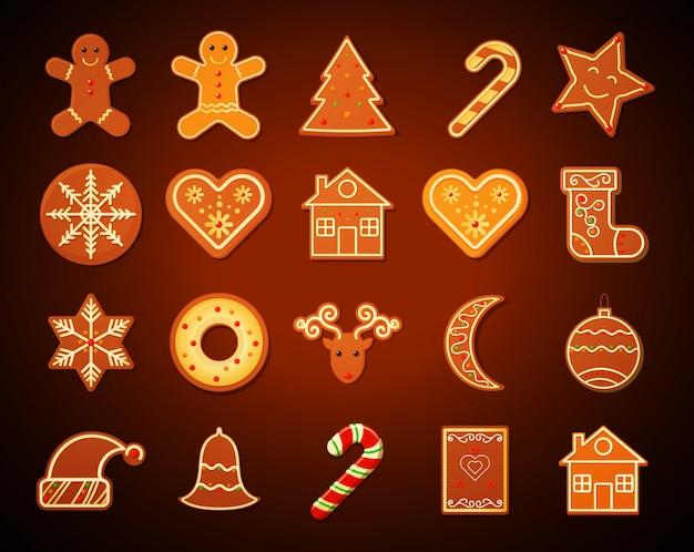 Conjunto de biscoitos de gengibre de natal