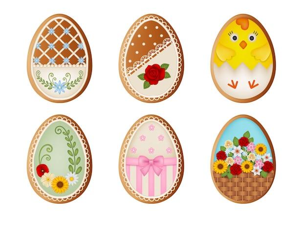 Conjunto de biscoitos de gengibre de ovos de páscoa