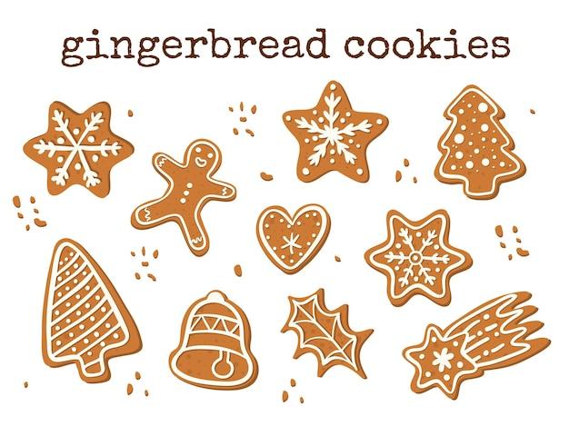 Conjunto de biscoitos de gengibre de vetor. guloseima tradicional de natal.