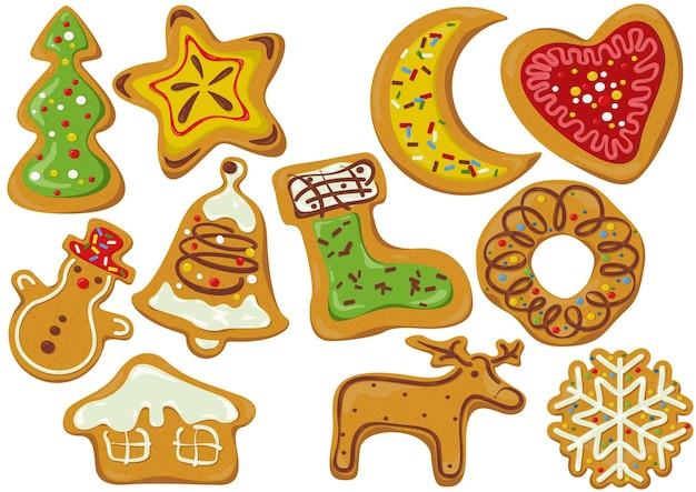 Conjunto de biscoitos de gengibre decorados de natal