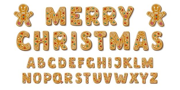 Conjunto de biscoitos de gengibre do alfabeto feriados. fonte de letras de abc de natal.