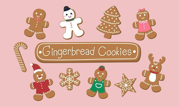 Conjunto de biscoitos de gengibre fofos para o natal.