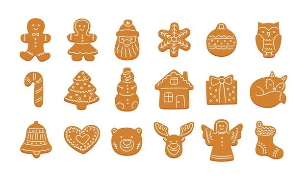 Conjunto de biscoitos de gengibre fofos para o natal