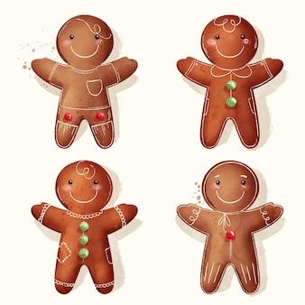 Conjunto de biscoitos de homem-biscoito em aquarela