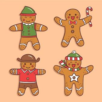 Conjunto de biscoitos de homem de gengibre mão desenhada