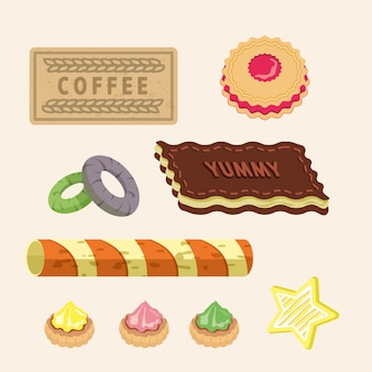 Conjunto de biscoitos deliciosos