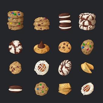 Conjunto de biscoitos diferentes em fundo isolado.