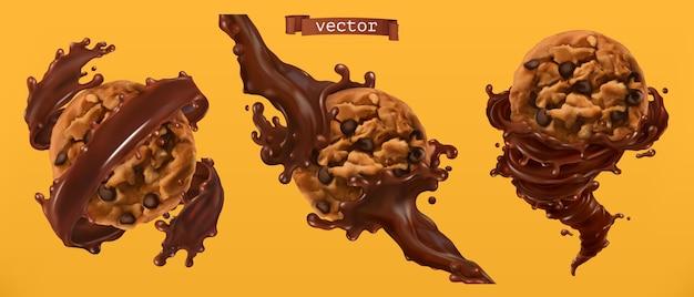 Conjunto de biscoitos e salpicos de chocolate