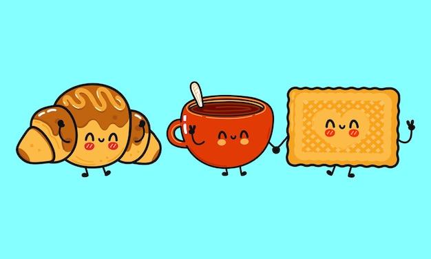 Conjunto de biscoitos engraçados fofos e felizes, copo de leite e croissant de chocolate com personagens