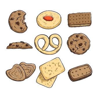Conjunto de biscoitos ou biscoitos com estilo colorido mão desenhada