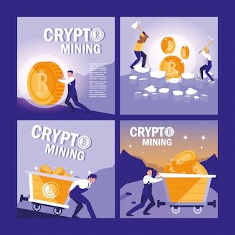 Conjunto de bitcoins de mineração criptográfica de equipe