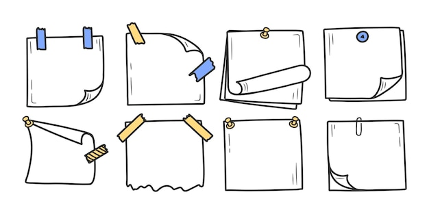 Conjunto de bloco de notas de doodle desenhado à mão para notas de mensagens estilo doodle