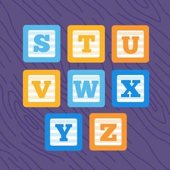 Conjunto de blocos de bebê de alfabeto negrito minimalista de vetor plano.