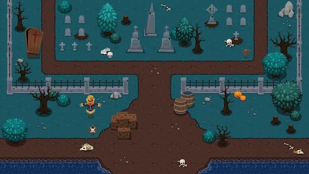Conjunto de blocos do jogo de cima para baixo do cemitério