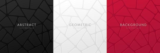 Conjunto de blocos geométricos abstratos de voronoi em 3d em fundo preto, vermelho escuro e branco