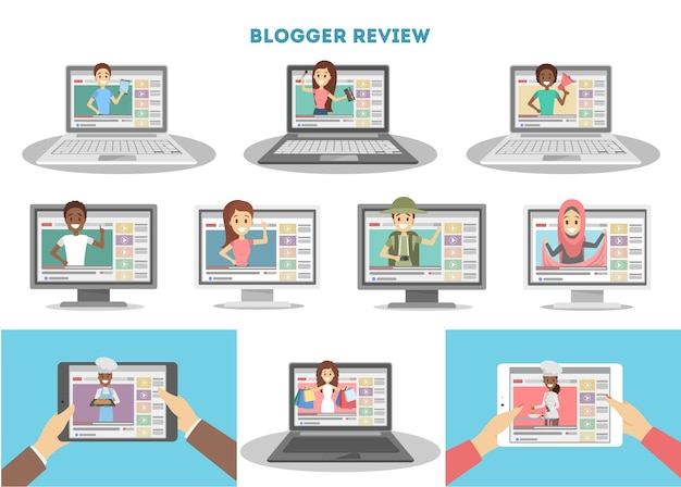 Conjunto de blogueiros de vídeo.