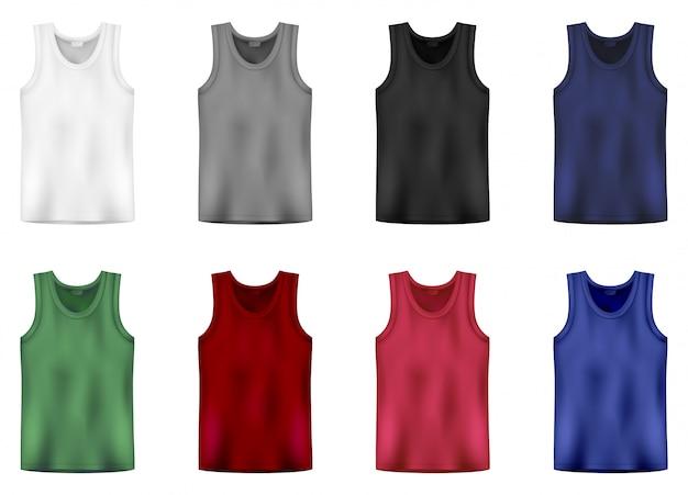 Conjunto de blusa nas cores brancas, cinza, pretas, azuis, verdes e vermelhas. os homens vestem roupas íntimas. as camisas ou os homens masculinos isolados sem mangas de esporte cobrem o fato.