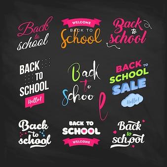Conjunto de boas-vindas de volta para rótulos de escola num quadro-negro