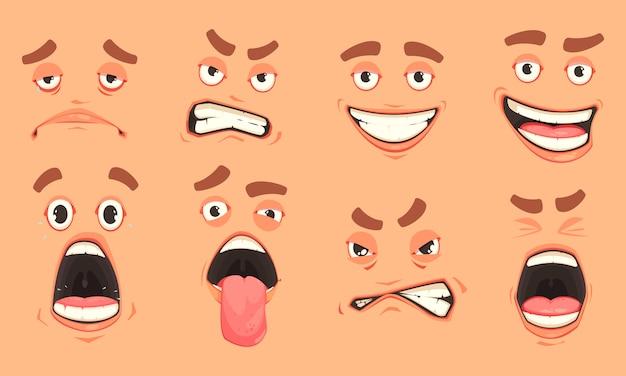 Conjunto de boca de homens dos desenhos animados