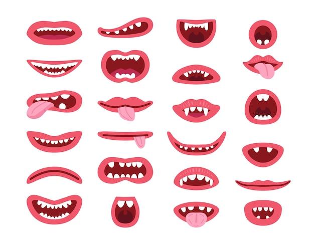 Conjunto de boca de monstro em diferentes poses