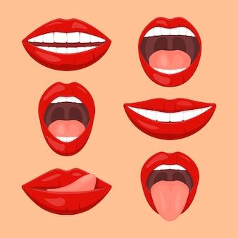 Conjunto de boca de mulher bonita
